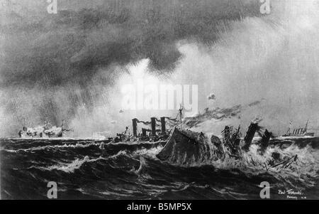 9 1914 11 1 A1 E 1. Weltkrieg Seeschlacht bei Santa Maria 1. Weltkrieg Seeschlacht von Santa Maria an der Küste Stockbild