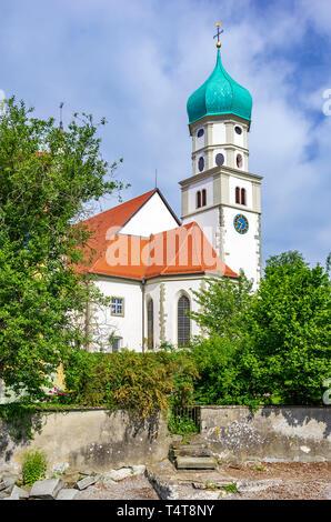 Blick auf St. George's in Wasserburg am Bodensee, Bayern, Deutschland. Stockbild