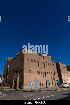 Traditionelle Schlamm Häuser im Zentrum der Stadt, in Najran Provinz Najran, Saudi-Arabien Stockbild