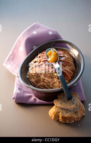 Leber-Terrine mit Mango-chutney Stockbild