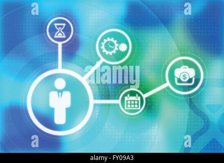 Anschauliches Bild der Darstellung der Bedeutung des Zeitmanagements im Geschäft Stockbild