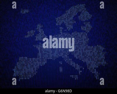 Europäischen Union Karte aus Binärcode Stockbild