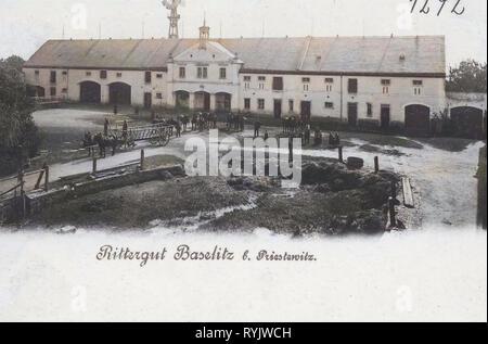 Rittergüter in Sachsen, Leiterwagen, Windkraftanlagen in Sachsen, Baselitz (Priestewitz), 1899, Landkreis Meißen, Baselitz, Rittergut, Deutschland Stockbild