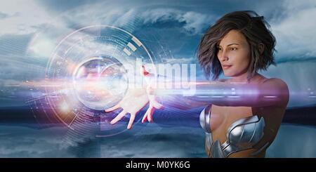 Futuristische Frau beobachten schweben Hologramm Kugel Stockbild