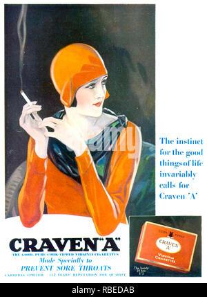 CRAVEN eine Zigarette Anzeige über 1925 Stockbild