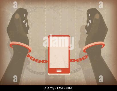Abbildung Bild Frau Hände in Handschellen mit Handy gesperrt Stockbild