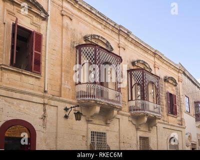 Gebäude, das in der ummauerten Stadt Mdina, die ehemalige Hauptstadt von Malta Stockbild