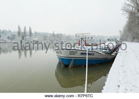 Frankreich, Seine-et-Marne, Bois le Roi, am Ufer des Flusses Seine unter dem Schnee während der Flut in der Nähe der Verriegelung zwischen Bois le Roi und Diagramm Stockbild