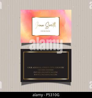 Business Card Design mit einem dekorativen Aquarell design Stockbild