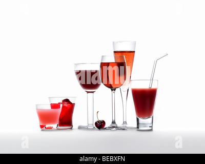 Kalte Getränke, Säfte, Smoothies, Wein und Champagner Stockbild