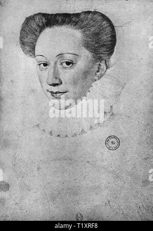 Bildende Kunst, Renaissance, Porträt einer unbekannten Frau, wahrscheinlich Francois Clouet, Zeichnung, 16. Jahrhundert, die Bibliotheque Nationale, Paris, Additional-Rights - Clearance-Info - Not-Available Stockbild