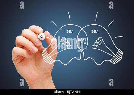 Hand zeichnen beste Idee Glühbirnen Konzept mit weißer Markierung. Teamarbeit Zusammenarbeit macht die besten Ideen. Stockbild