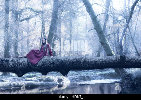 eine Frau in einem lila Kleid sitzt auf einem Baumstamm über einen Fluss im winter Stockbild