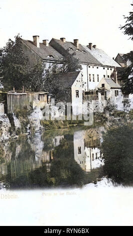 Gebäude in Döbeln, Freiberger Mulde in Döbeln, 1905, Landkreis Mittelsachsen, Döbeln, An der Mulde, Deutschland Stockbild
