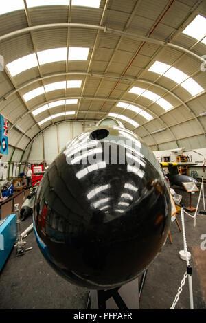 In der Nähe von Nase Kegel von Hawker Hunter Mk5 an tangmere Aviation Museum Stockbild