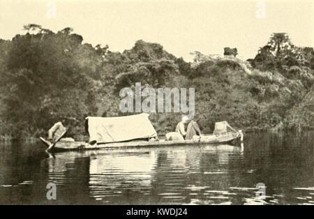 Kanu manipuliert mit einer Abdeckung unter dem kranken Colonel Roosevelt gereist. Am Ende des Roosevelt-Rondon Expedition, Stockbild