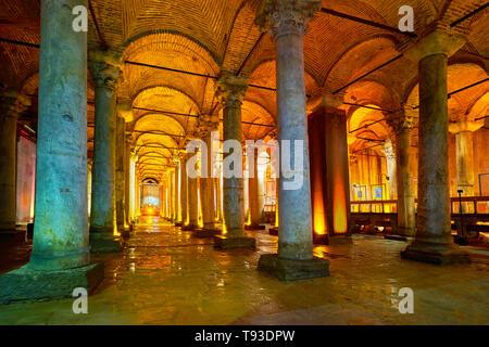 Basilika Zisterne, Istanbul, Türkei Stockbild