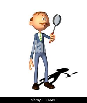 Cartoon Figur Mann mit Lupe Stockbild