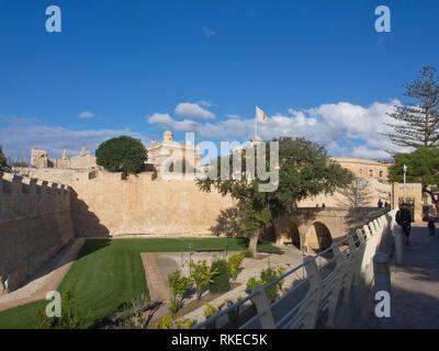 Die Stadtmauern von Mdina der mittelalterlichen ehemalige Hauptstadt von Malta Stockbild