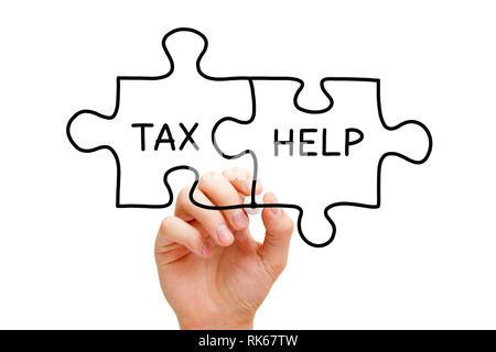 Handzeichnung Steuer Hilfe puzzle Konzept mit schwarzem Marker auf Transparenten abwischen Board auf Weiß isoliert. Stockbild