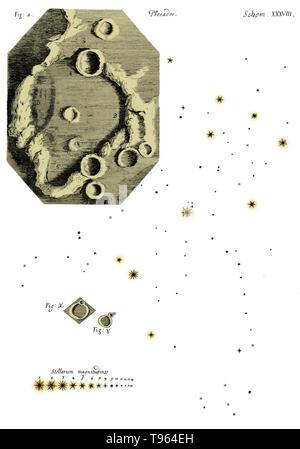 Farbe verbesserte Zeichnungen der Mond und die Plejaden von Hooke die Micrographia. Robert Hooke (1635-1703) war ein britischer Wissenschaftler, der zahlreiche Entdeckungen in so unterschiedlichen Bereichen wie Astronomie und Mikrobiologie. Sein Name ist in das Hookesche Gesetz, das die Last auf einer Feder auf ihre Erweiterung bezieht sich erinnert. Er verwendet ein zusammengesetztes Mikroskop eine Vielzahl von Proben zu beobachten und dann veröffentlicht die Ergebnisse seiner bemerkenswert Ausführliche Bemerkungen in Micrographia im Jahre 1665. Stockbild