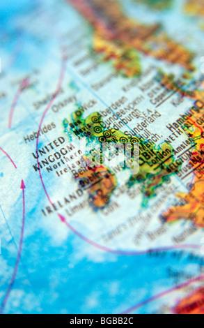 Foto von UK England Großbritannien Karten Globus reisen atlas Stockbild