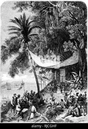 Christopher Columbus' die zweite Reise, die erste Messe sagte auf amerikanischem Boden. Ein Priester hält ein Kruzifix als Segler im Gebet niederzuknien und zu hören, und native Leute sitzen in einer Versammlung. Stockbild