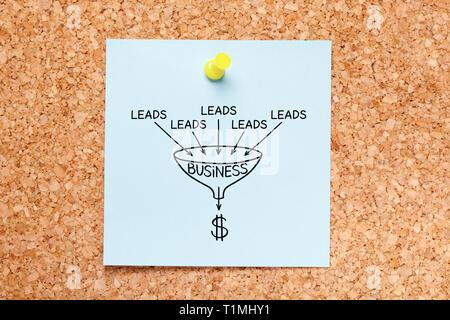 Sales Lead generation Business Konzept auf Blau Haftnotiz auf Kork Pinnwand angeheftet gezeichnet Trichter. Stockbild