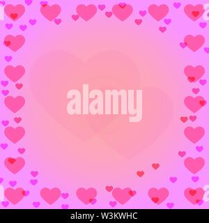 Rosa Herz an den Grenzen von rosa Farbverlauf Hintergrund mit Herzen Silhouette in der Mitte. Ideale Lösung für Design und Dekoration von Grußansagen. Stockbild