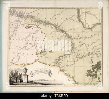 Karte des Flusses Irtysch Fluss aus Omsk Festung in Tobolsk, 1780. Private Sammlung. Stockbild
