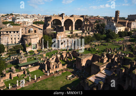 Das antike Rom City Skyline vom Palatin, Rom, Latium, Italien, Europa Stockbild