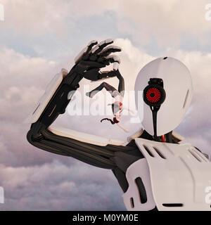 Giant Robot holding Frau upside-down von Leg Stockbild