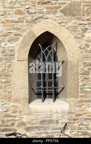 Fenster in der Kirche Servatiikirche, Münster in Westfalen, Nordrhein-Westfalen, Deutschland Ich Kirchenfenster an der Servatiikirche, Münster in Westfalen Stockbild