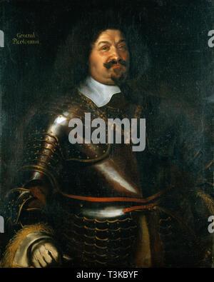 Porträt des Fürsten Octavio Piccolomini (1599-1656), Herzog von Amalfi, 1649. In der Sammlung von Skokloster Motormuseum gefunden. Stockbild