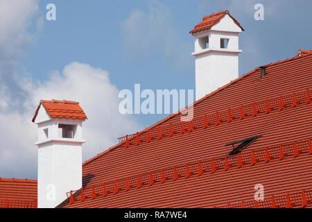 Weißen Schornsteine aus Stein auf dem Dach eines Hauses, Tegernsee, Oberbayern, Bayern, Deutschland, Europa ich Weisse Schornsteine aus Stein auf dem Dach Stockbild