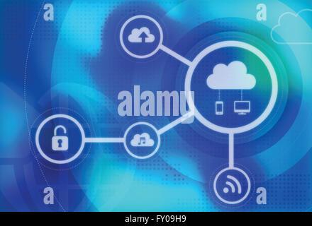 Anschauliches Bild der sichere Cloud-computing-Konzept Stockbild