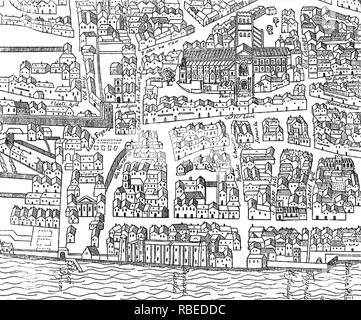 LONDON 1563 mit St Pauls rechts oben. Zu Ralph Agas zugeschrieben. Stockbild