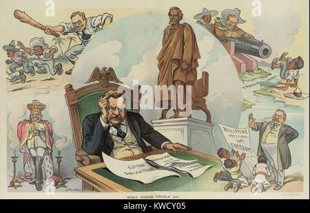Was würde LINCOLN? PUCK Magazin Cartoon von Sept. 28, 1905. Wahljahr politischen Karikatur kritische der TRs Stockbild