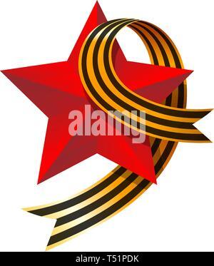 Mai 9 Russische Urlaub, großartige Tag des Sieges. Big Red Star und Nelke. Symbol des Sieges der Sowjetunion über Nazi-deutschland im Zweiten Weltkrieg. Vektor illustra Stockbild
