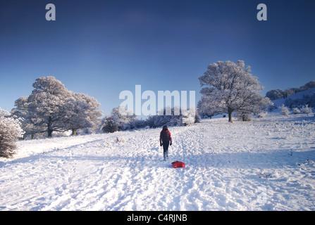 Mädchen mit Schlitten im Schnee Stockbild