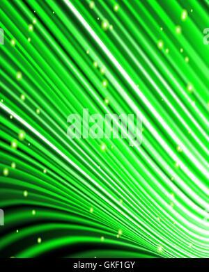 Sterne fallen auf dem Hintergrund der grünen Strahlen. Stockbild