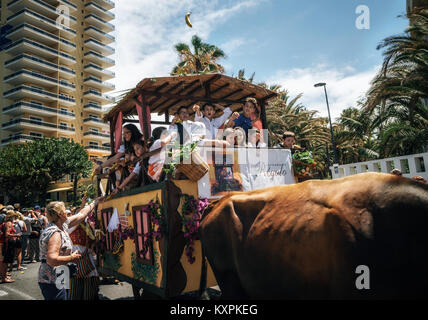 Puerto de la Cruz, Teneriffa, Kanarische Inseln, Spanien - 30. Mai 2017: Eingerichtet Stier gezogenen Wagen und Stockbild