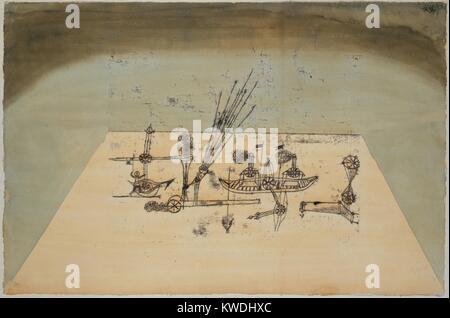 Gelbe Hafen, von Paul Klee, 1921, Schweizer Zeichnung, Aquarell und Tusche auf Papier. Eine Trapezform schlägt Stockbild