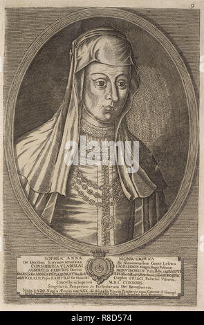 Zofia (Anna) Radziwill (Moniwidowna). Von: Icones Familiae Ducalis Radivilianae, 1758. Private Sammlung. Stockbild