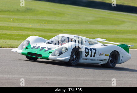 1969 Porsche 917, Chassis-001, auf einer Kundgebung am 77. Goodwood GRRC Mitgliederversammlung, Sussex, UK. Stockbild
