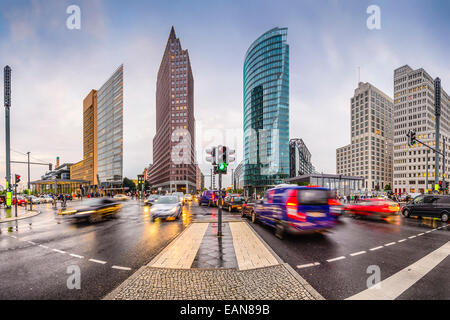 Skyline von Berlin, Deutschland am Potsdamer Platz financial District. Stockbild