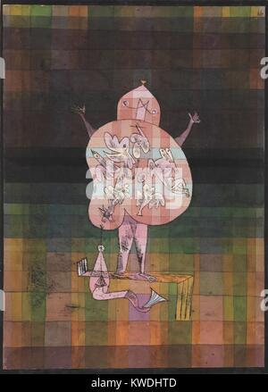 Bauchredner und AUSRUFER IM MOOR, Paul Klee, 1923, Schweizer Zeichnung, Aquarell und Tusche auf Papier. Imaginäre Stockbild