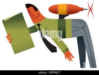 Ein Geschäftsmann tragen ein jetpack Stockbild