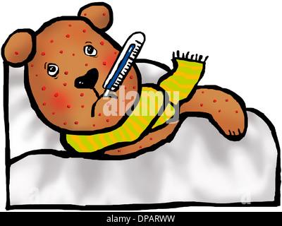 Ein Bär mit Windpocken mit einem Thermometer in den Mund Stockbild