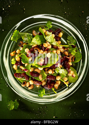 Salat aus Bohnen, Kichererbsen, Kidneybohnen und schwarze Augen Bohnen mit Spinat, roten Zwiebeln und Koriander. Stockbild